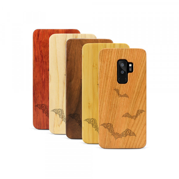 Galaxy S9+ Hülle Fledermaus Ornamente aus Holz