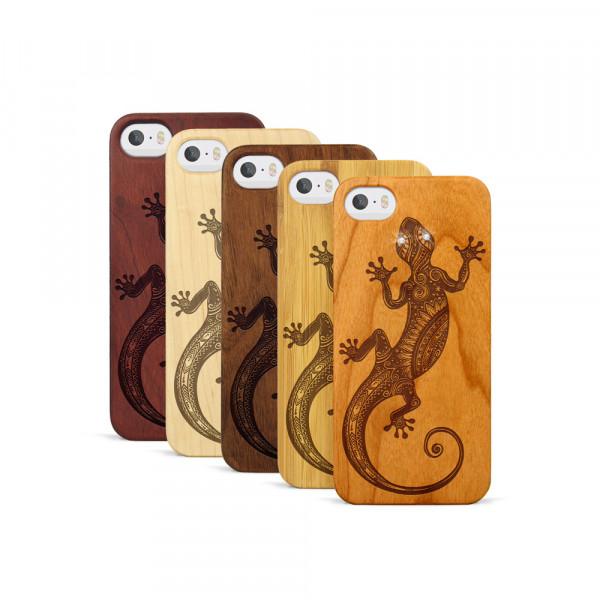 iPhone 5, 5S & SE Hülle Gecko Swarovski® Kristalle aus Holz