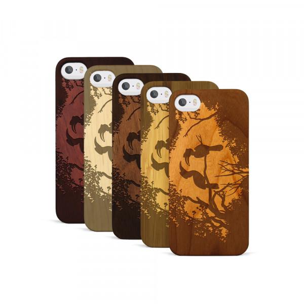 iPhone 5, 5S & SE Hülle Wildlife Paradiesvögel aus Holz