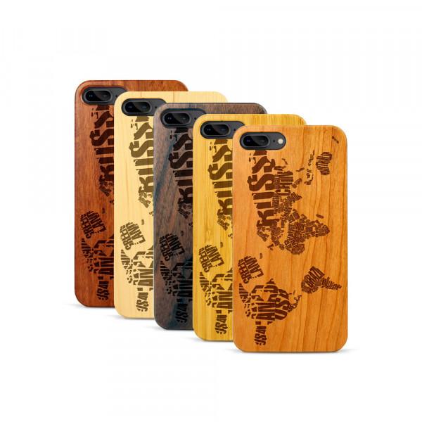 iPhone 7 & 8 Plus Hülle Ländernamen Weltkarte aus Holz