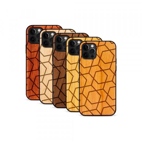 iPhone 12 Pro Max Hülle Big Pattern aus Holz