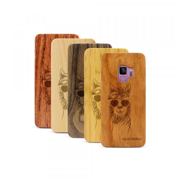 Galaxy S9 Hülle Llama aus Holz
