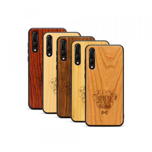 P20 Pro Hülle Fashion Mops aus Holz