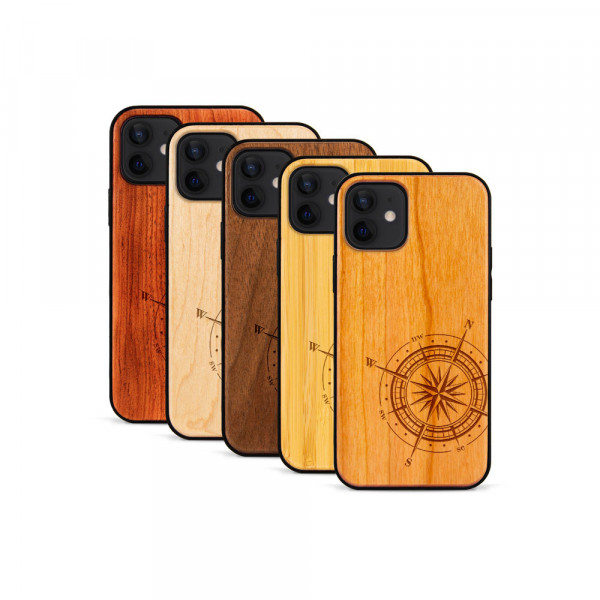 iPhone 12 Mini Hülle Kompass aus Holz