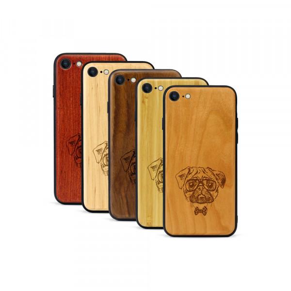 iPhone 8 & SE Hülle Fashion Mops aus Holz