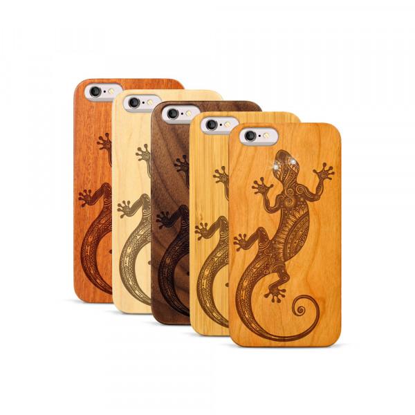 iPhone 6 & 6S Hülle Gecko Swarovski® Kristalle aus Holz