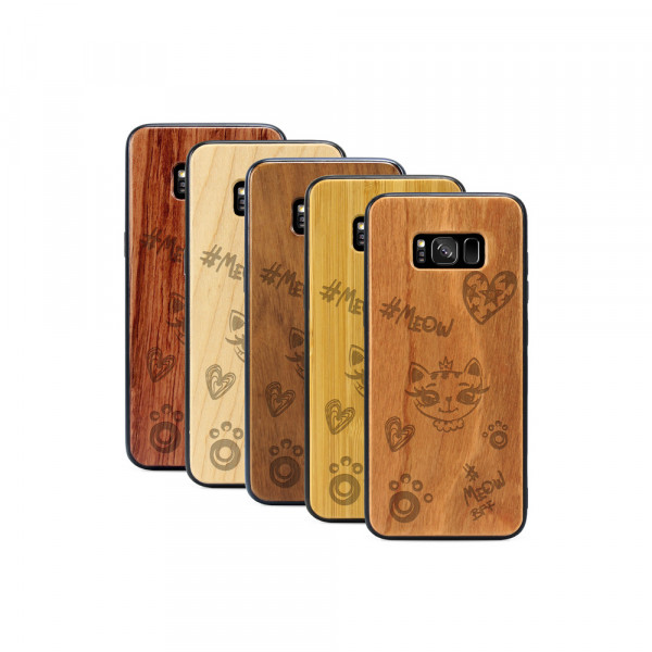 Galaxy S8 Hülle Cat Meow aus Holz
